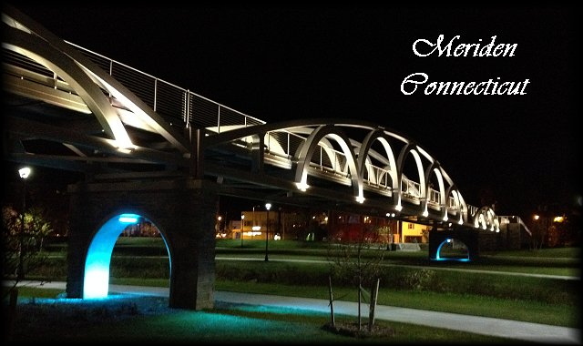 Meriden, Connecticut - Downtown park walk-bridge at night